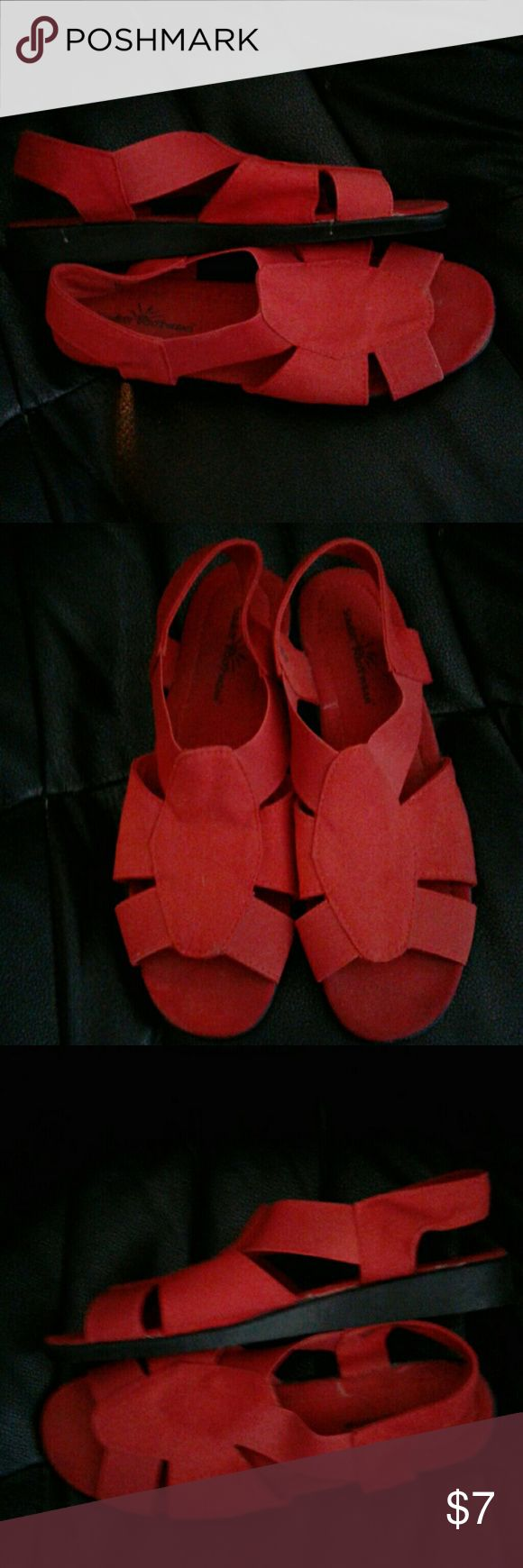 SunBay Footwear Red Canvas slingback sandals Hardly worn Red Canvas slingback sandals with elasticized strap SunBay Shoes Sandals