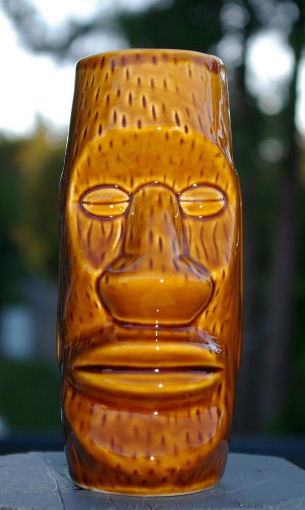Tall Brown Gloss Tribal Tiki Party Hawaii Mug by Shonfeld's USA Coffee Bean Eyes  | eBay