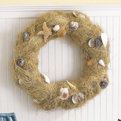 like this but with burlapBathroom Design, Shell Wreath, Beach Home, Bathroom Interior, Sea Shells, Beach House, Burlap Bows, Seashells Wreaths, Beach Wreaths