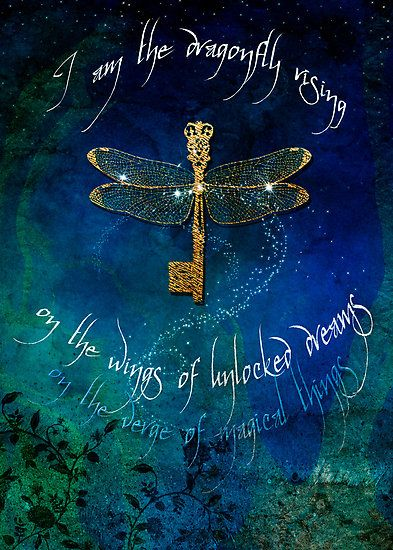 I am the dragonfly rising on the wings of unlocked dreams on the verge of magical things. Aimee Stewart