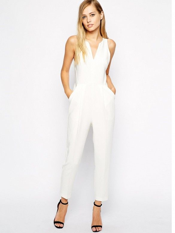 Whistles Abigail Crepe Jumpsuit in Ivory // #Shopping