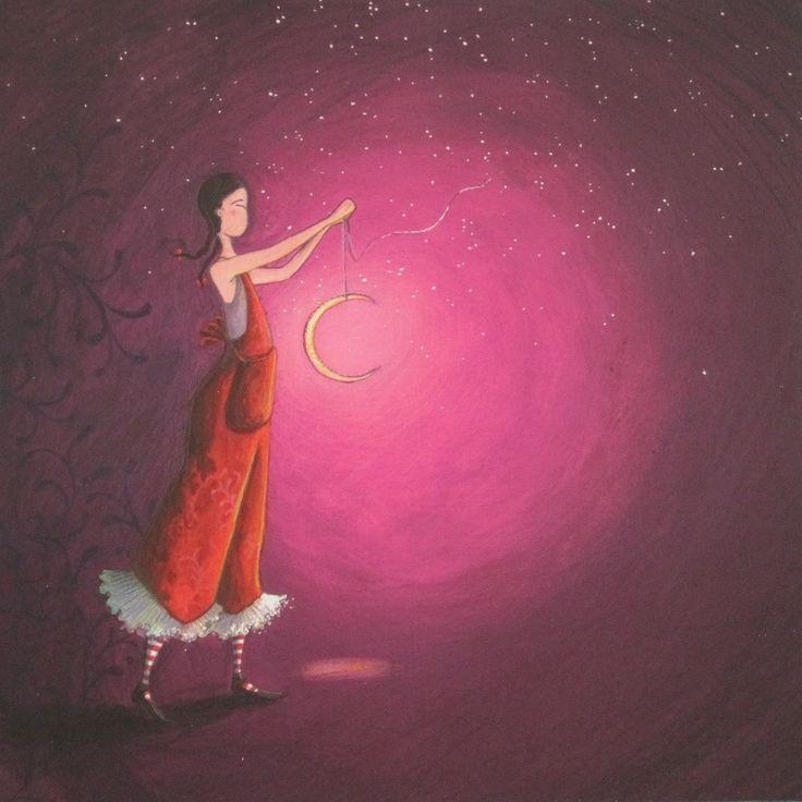 Gaelle Boissonnard art card slender girl in red holding crescent moon purple background