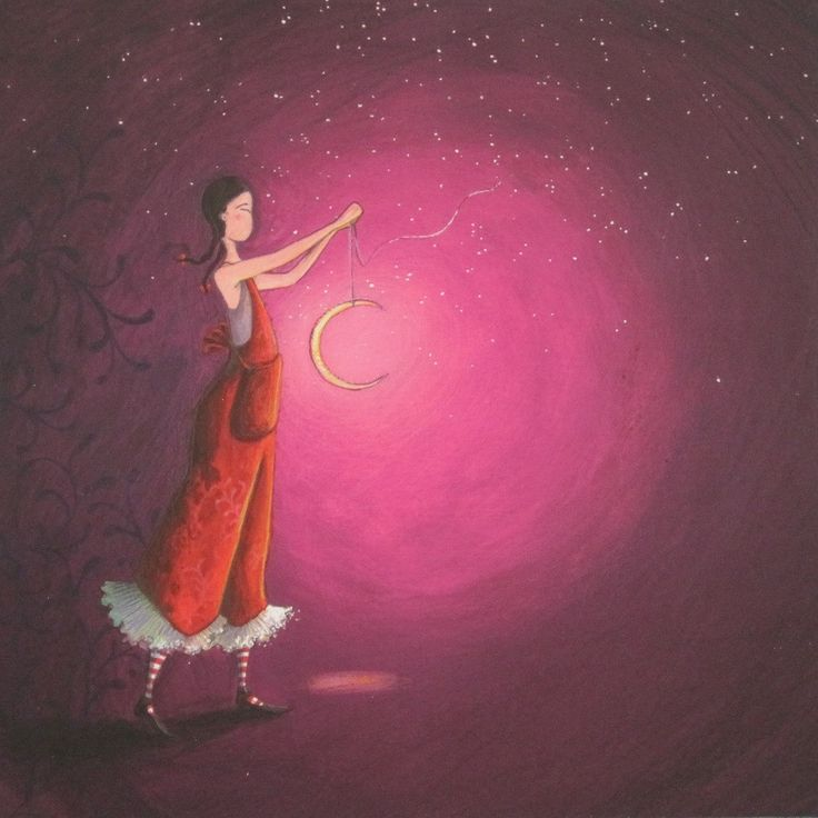 Gaelle Boissonnard art card slender girl in red holding crescent moon purple background