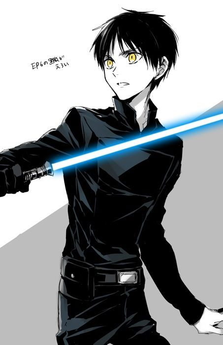 """""""Eren Jaeger, Jedi apprentice.""""  I'm not entirely sure what this is, but I like it! Update: Apparently, this is the main character from Attack on Titan as a Jedi. Not apart of the Attack on Titan fandom, but Star Wars improves every crossover, so yes. Lightsabers. Lightsabers are beautiful."""