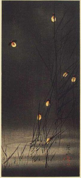 Fireflies in Reeds woodcut by Ito Sozan 1918 japan.
