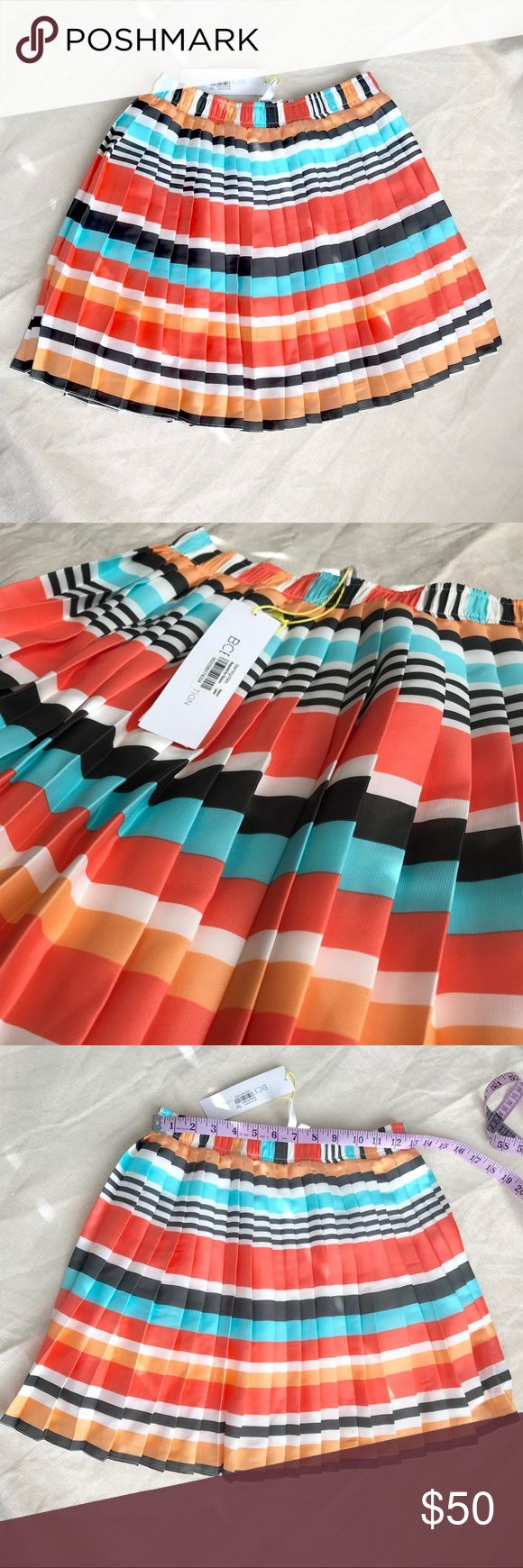 BCBG Multi Color Skirt 100% Polyester Multi color Flamingo skirt xs. Elastic waist band, BCBG Skirts