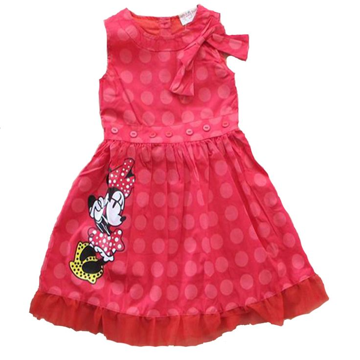 Retail Summer kids girl clothes dresses 2017 cartoon mouse girl kids clothes dress summer polka dot kids clothes dress for girl