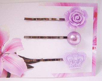 Pasador de pelo púrpura establece, pinzas de pelo lila, rosa pelo Clips, pinza de pelo de Tiara corona, Dama de honor accesorio ZBB