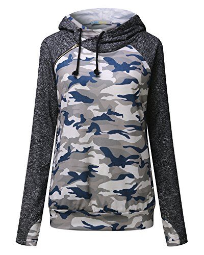 f41b05c5d316 Kidsform Women Double Hooded Sweatshirt Color Block Casual Pullover Tops Long  Sleeve Hoodie Blouse T Shirt with Pockets