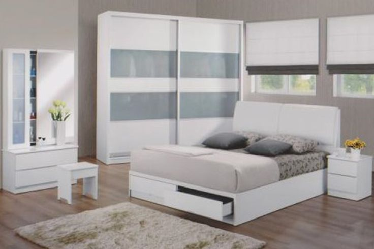 The Aurora Bedroom Set Description: Specially designed, sleek and classy, the Aurora bedroom set was design to its finest lines. Keeping it simple and neat with clean lines, it consists of a 2 sliding door wardrobe.