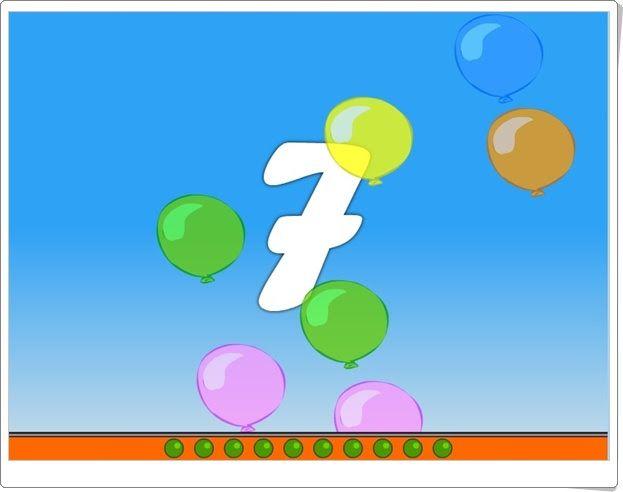 Tronar globos (Juego de Números para Educación Infantil de 4 años)