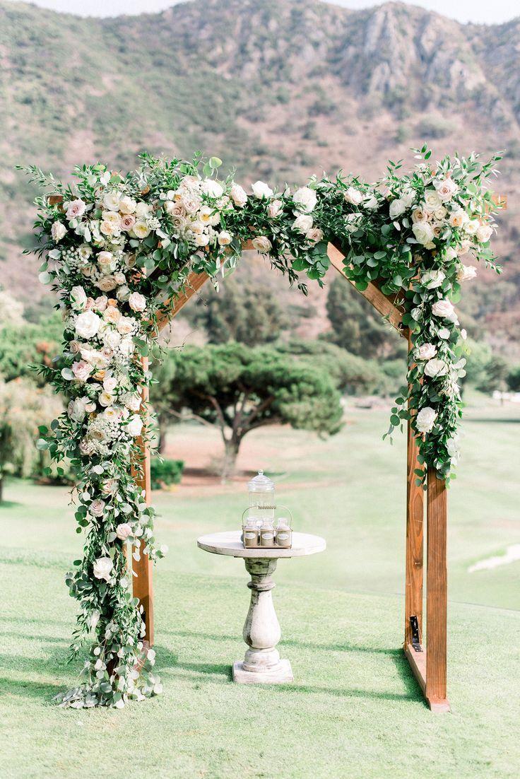 Rustic Garden Wedding Wood Arch With Asymmetrical Flowers