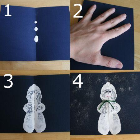 Sneeuwpop op dubbelgevouwen papier / Snowman on folded piece of cardstock paper