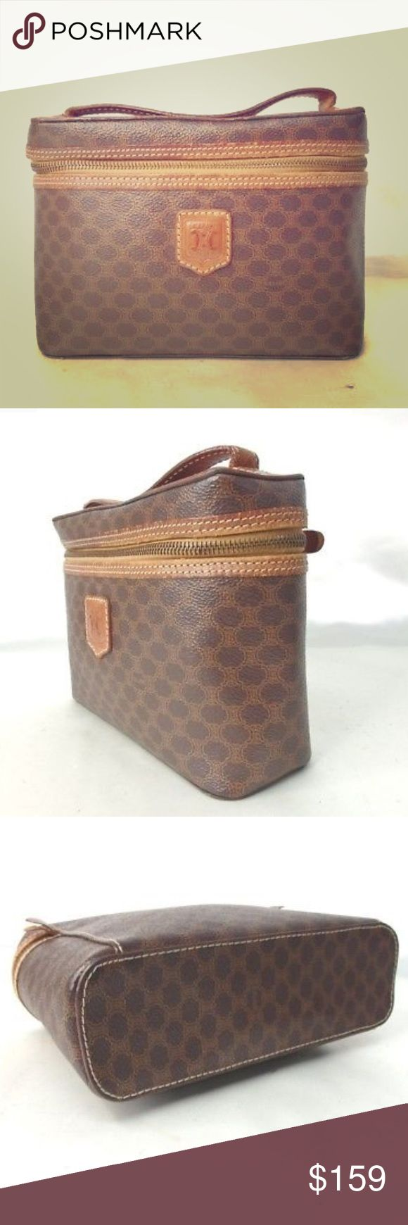 """CELINE vanity case Guaranteed authentic preowned CELINE Brown macadam makeup / vanity case with zip around closure.   Overall in good condition - please see photos before purchasing.   Measures 8.5 x 6 x 3"""".   Bundle to save - any offers please use offer option only Celine Bags Cosmetic Bags & Cases"""
