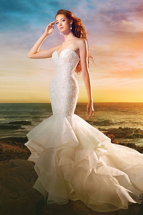 Alfred Angelo Style 264: A mermaid wedding dress featuring strapless, sweetheart neckline and ruffle horsehair trim skirt