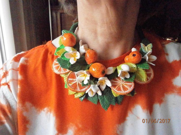 ARANCE collana in argilla polimerica con arance, fiori e foglie d'arancio di PaTrieste su Etsy