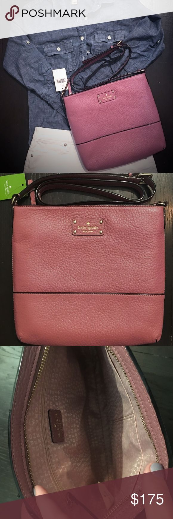 "Kate Spade Bay Street Cora Kate Spade Bay Street Cora Purse CONDITION: NWT COLOR : Rick Rum Raisin (light plum) BEAUTIFUL NEW FALL COLOR!  • COWHIDE TRIM • 14K GOLDPLATED HARDWARE • ZIP CLOSURE • CROSSBODY • ADJUSTABLE STRAP UP TO 47"" • MEASURES APPROX 10.1"" w x 10.1"" l x 1.2""d • Embossed KATE SPADE NY LICENSE PLATE • INTERIOR HAS 2 SLIP POCKETS/1 ZIPPERED POCKET • JACQUARD LINING   Last  2 photos are stock photos  Feel free to make me an offer! Or bundle and I'll send your a private…"