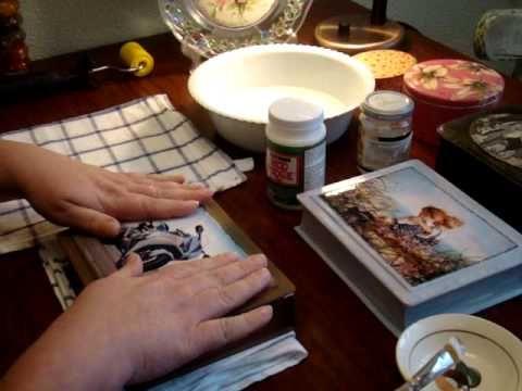 /Декупаж: клеим истонченное фото  на шкатулку,вместо распечатки или салф...