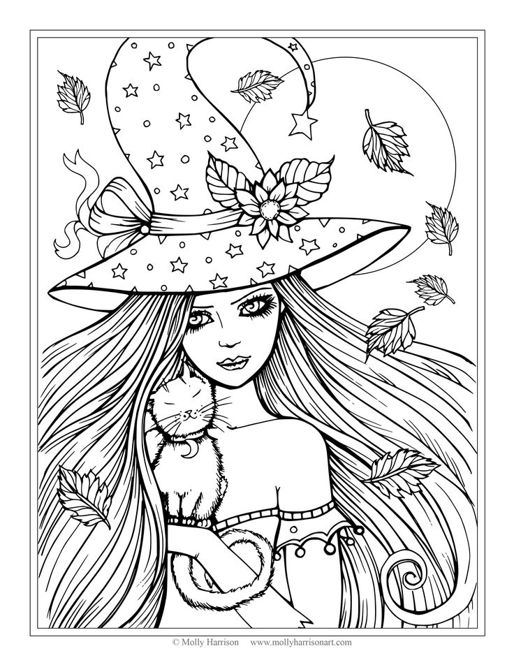 free witch and cat coloring page halloween coloring pages by molly harrison fantasy art - Halloween Pictures Coloring Pages