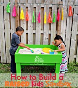 Learn how to build a raised kids sandbox! This DIYhellip