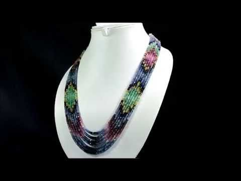 7 Strands Natural Ruby Emerald Sapphire 406ct Multi Row Gemstone Beads N...
