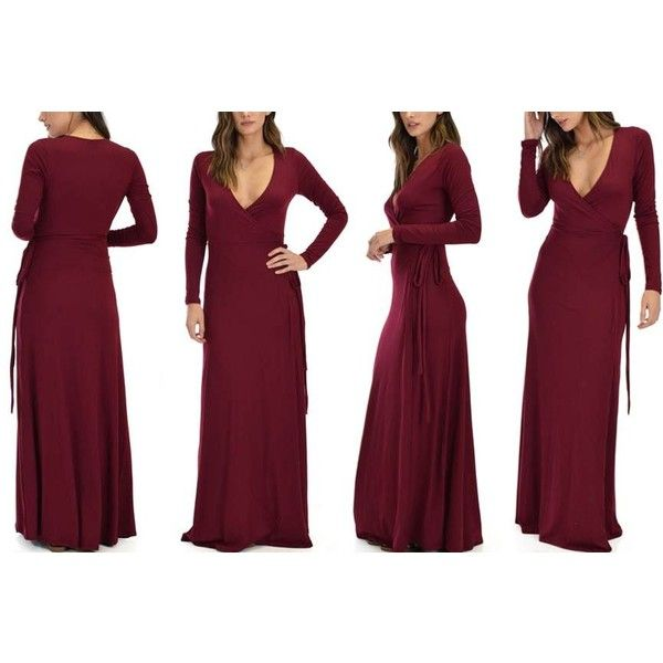 Women's Lyss Loo Celestial Long Sleeve Wrap Maxi Dress S Burgundy ($20) ❤ liked on Polyvore featuring dresses, red, purple long sleeve dress, long sleeve dress, knit maxi dress, burgundy long sleeve dress and purple maxi skirt