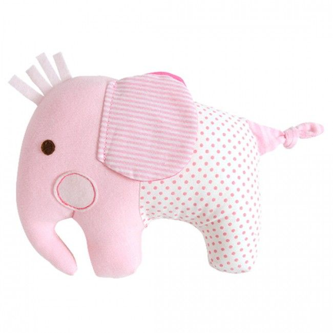 Adorable pink Elephant Softie Rattle by Tiger Tribe!  Made from soft jersey and cotton fabrics in a lovely blend of decor colours - a beautiful and unique baby gift!  #babyrattle #babytoy #babygift #babyshower #babyshop #designerbaby #rattle #babygirl #babyroom #nursery #tigertribe #littlebooteek