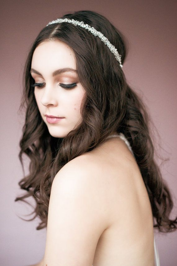 Crystal Headband, Bridal Accessory, Circlet Headpiece, Crystal Tiara, Crystal Halo, Bridal Bling, Pearl Hair Piece, Beaded Headband JENNIFER