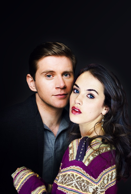 Allen Leech & Jessica Brown Findlay. Sybil and Tom on Downton Abbey. Blue denim shirt. Purple sweater.