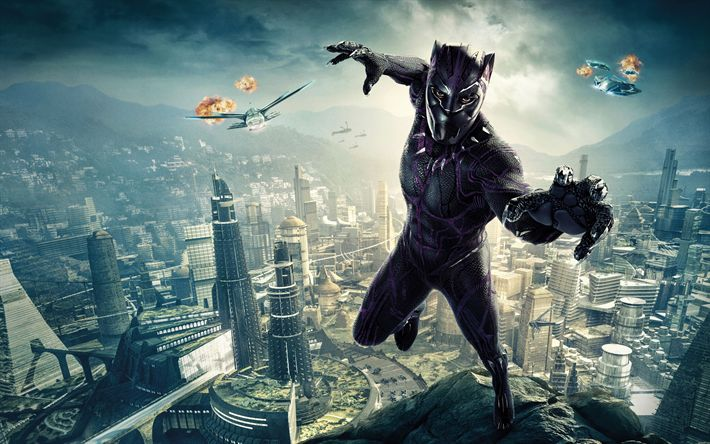 Download wallpapers Black Panther, 2018, poster, new movies, superhero, Chadwick Boseman