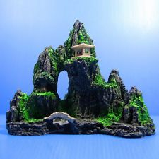 1pcs Mountain View Aquarium Ornament Tree Rock Cave Stone Fish Tank Decor New