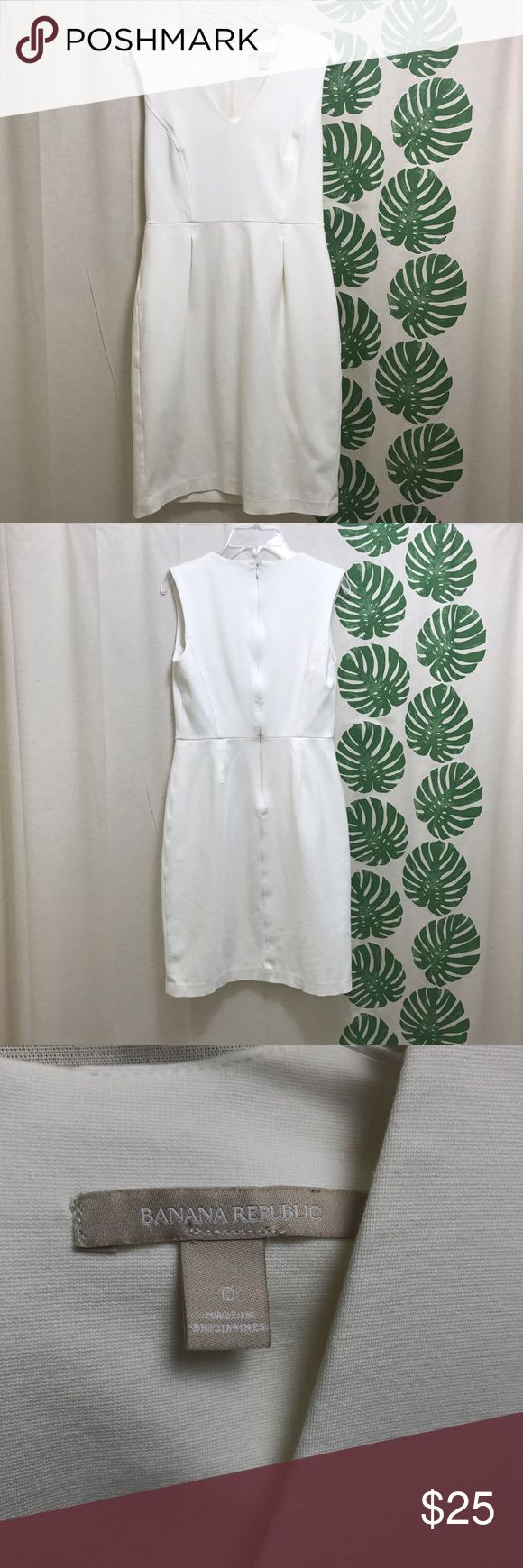 Off-White Banana Republic Dress This is a gently worn off-white Banana Republic dress. It hits about 4 inches above the knee and would be great for business, a bridal shower, or a day or night out on the town! This dress would look nice with a single pearl necklace and some nude pumps :)                                   Is 66% Rayon, 29% Nylon, and 5% Spandex. This dress is not see-through, but would look best with nude underwear 😊 Banana Republic Dresses