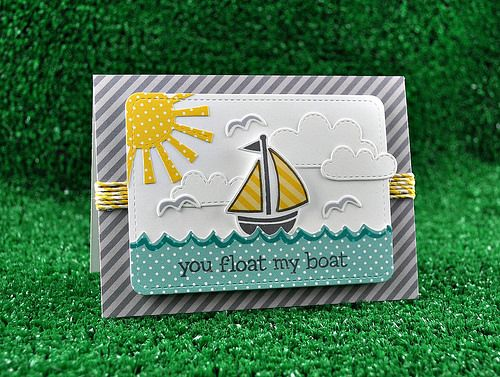 Lawn Fawn - Float My Boat + coordinating dies, Stitched Journaling Card die, Spring Showers dies, Let's Polka 6x6 paper, Lemon Lawn Trimmings cord _  card by Kelly for Lawn Fawn Design Team, via Flickr