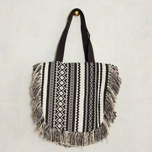 Fringe Edge Woven Fabric Large Saddle Bag