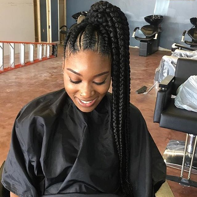 This braided ponytail is so cute addictivestyles on thepen  voiceofhair voiceofhair braids feedinbraids batonrougehair batonrougestylist ponytail