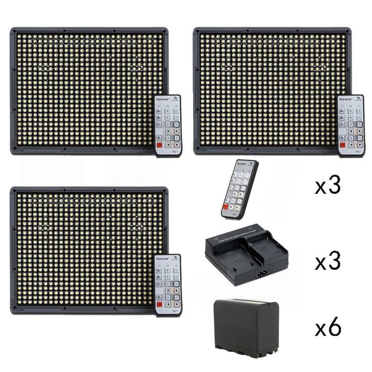 Aputure 2x HR672C + HR672S CRI 95+ LED Video Light Kit, include 6pcs NP-F970 battery + 3pcs Dual charger