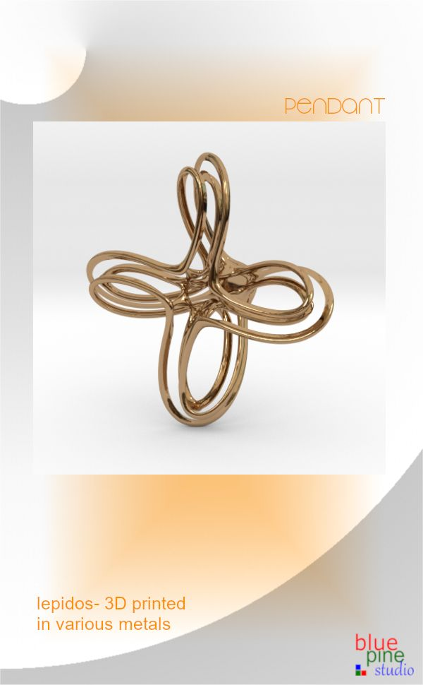 Lepidos- a pendant 3D printed in various metals including silver & gold
