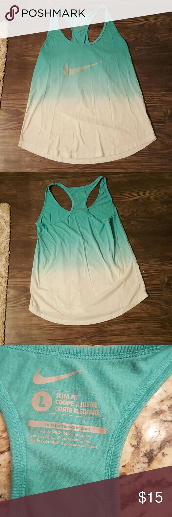 Nike slim fit racerback tank Super cute Nike tank for sale! Could be worn as cover up, looks really cute with a bandeau under it as well! Size large slim fit. Really comfy and in excellent condition--no flaws! Nike Tops