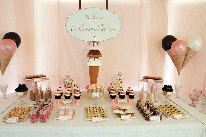 Fun 'ice cream parlor' party idea! Love the cake pops served in cones!