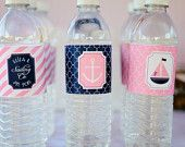 Preppy Nautical Collection: Printable Water Bottle Wraps