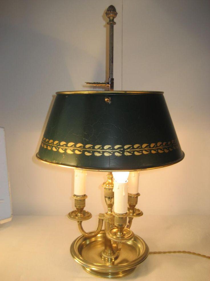 LAMPE BOUILLOTTE BRONZE XIX�me ABAT-JOUR T�LE 3 BRAS, GL Antiquit�s, Proantic