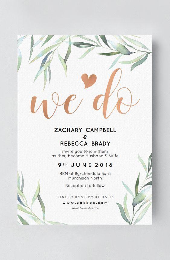 Boho Hochzeitseinladung mit Eukalyptus   – Wedding Invitation Inspiration // Sve…
