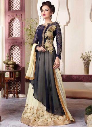 Navy Blue And Cream Embroidery Sequins Work Gergettte Anarakli Lehenga Suit http://www.angelnx.com/Salwar-Kameez/Anarkali-Suits#/