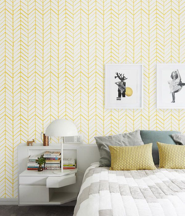 Self adhesive vinyl wallpaper - Chevron pattern print  - 026 SNOW/ LEMON by Betapet on Etsy https://www.etsy.com/listing/229767374/self-adhesive-vinyl-wallpaper-chevron
