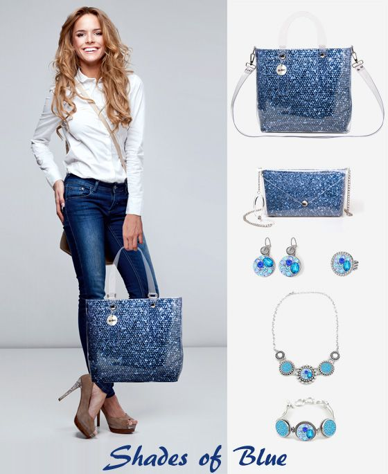Choose your #look Shades of Blue for #Christmas. Create your #WishList  with our Bags and Bi-joux! #holidaygiftguide