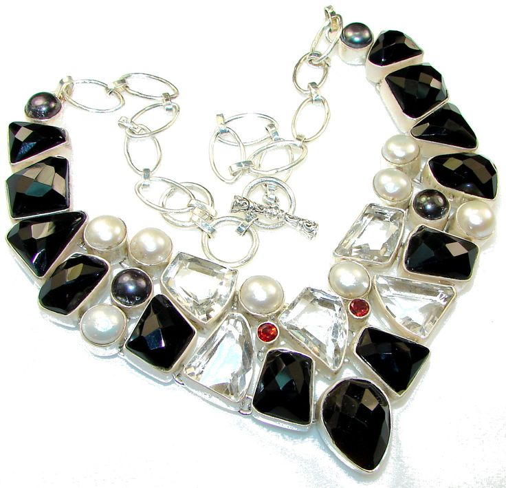 Aura Of Beauty!! Black Onyx Sterling Silver Necklace