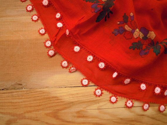 red cotton scarf with red and white flower edging. by PashaBodrum