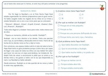 Ficha de comprender texto del reno Rudolph para primaria