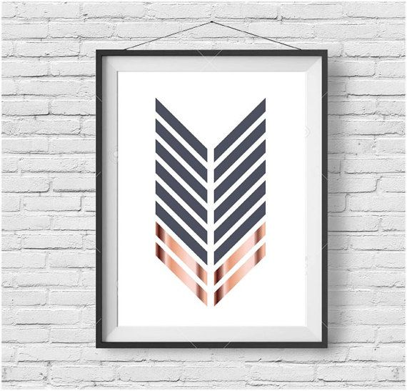 Copper Print Chevron Printable Art Geometric Poster by PrintAvenue