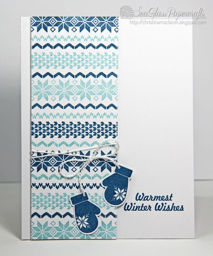 Clean and simple Christmas card using fair isle pattern